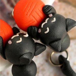 Black Cat Orange Ball Dangle Earrings